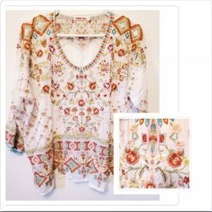 NWOT Johnny Was Embroidery Sandra Blouse Size M